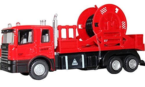 Preisvergleich Produktbild HappyCherry 2511 - 1:60 Feuerwehrauto Pull-Back Spielzeug Serie Schlauchwagen