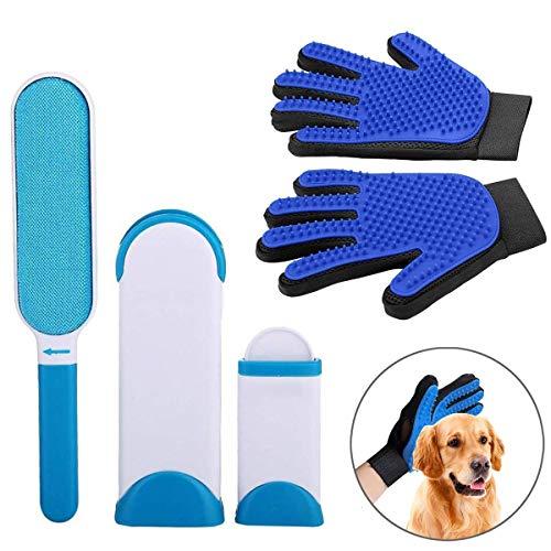 Guanto spazzola 2pcs per cani e gatti massaggio + guanto per cani gatti di massaggio e pulizia guanto magico toelettatura, kit per la toelettatura degli animali domestici spazzola