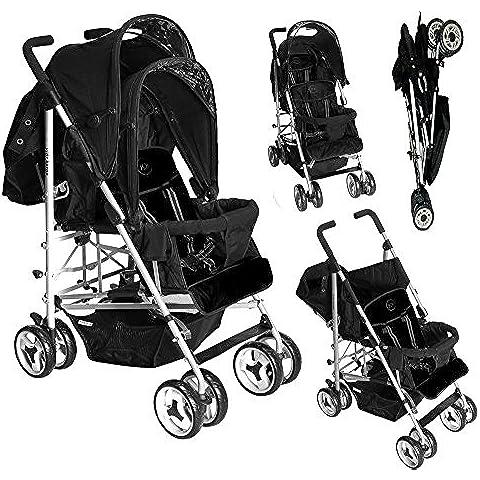 Duo Twin Tandem - Passeggino con 2 seggiolini, schienale completamente reclinabile per neonati nella parte posteriore, seggiolino 6+ mesi nella parte anteriore, con parapioggia Colore: argento Chassis/nero notte