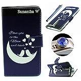 Etche Asus ZenFone 2 (ZE551ML/ZE550ML) 5.5 Zoll Flip Cover Hülle,Asus ZenFone 2 (ZE551ML/ZE550ML) 5.5 Zoll PU Leder wallet SchutzHülle, niedlich bunt kreativ moon Liebe muster Handytasche HandyHülle Etui Tasche mit Standfunktion Kredit Kartenfächer für Asus ZenFone 2 (ZE551ML/ZE550ML) 5.5 Zoll + 1x Diamant Staub Stecker + 1x Blau Eingabestift