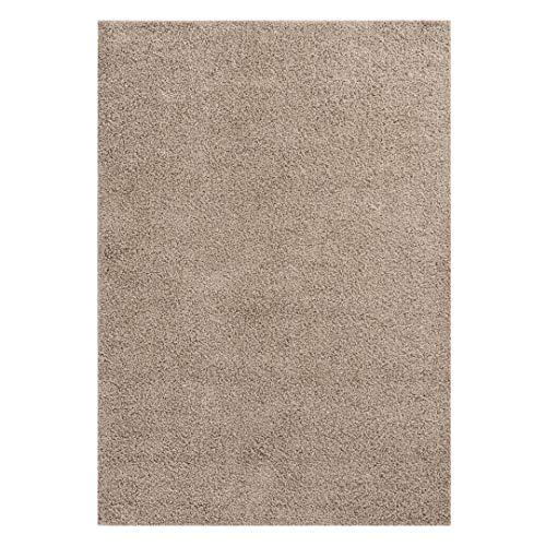 mynes Home Einfarbig Melierter Flauschiger Shaggy Hochflor Langflor Teppich Modern Beige Uni 30 mm Tricolor Flokati Jugendzimmer Wohnzimmer geeignet (160x230) -