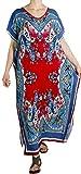 Sakkas 18212 - Robe en Caftan à imprimé Africain Aggy pour Femmes, Maxi Boho Hippie, colorée - Bleu/Rouge - OS