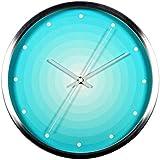 Arte moderno minimalista redondo reloj de cuarzo reloj electronico Reloj Metal tranquilo dormitorio,Plateado