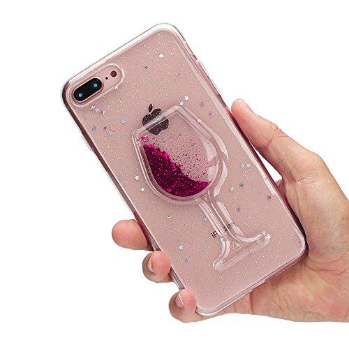 iPhone 8 Plus Hülle, iPhone 7 Plus Hülle, Edaroo Weinglas design 3d Rot Glitzer Flüssig Wasser...