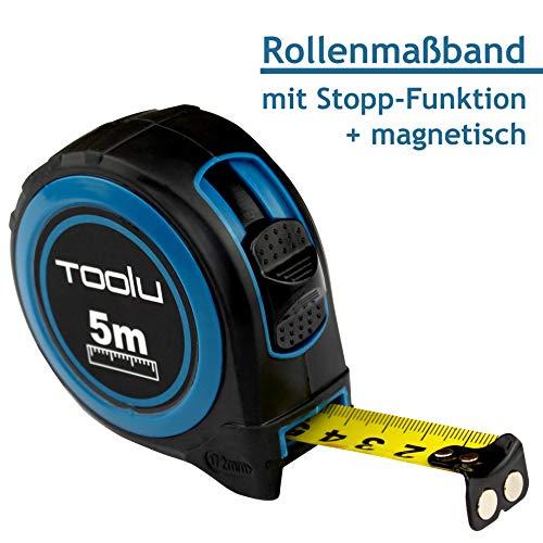 Maßband 5 Meter   Rollbandmaß   Messband   Distanzmessung   Stahlmaßband   Entfernungsmesser   automatischer Rücklauf   Metermaßband   Aufrollsystem von Toolu *Premiumprodukt mit bester Qualität* - Mess-stab