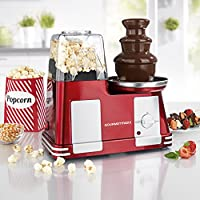GOURMETmaxx Popcorn-Maschine & Schokoladenbrunnen 2in1 1200W in Rot/Silber