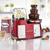 Schokobrunnen kaufen - GOURMETmaxx Popcorn-Maschine & Schokoladenbrunnen 2in1 1200W in Rot/Silber