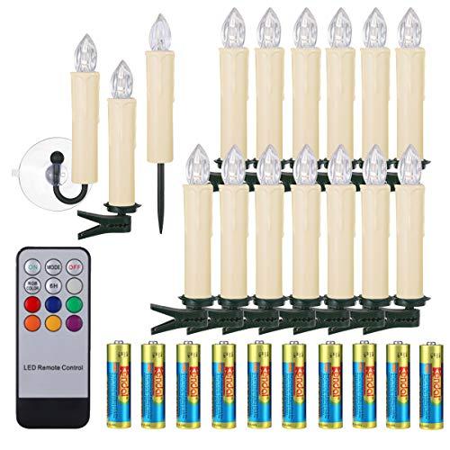 40/30/20/10x Weihnachtskerzen mit Batterien Timer & Fernbedienung LED Kerzen Flammenlose Lichterkette mit Zubehörset für Auß-Innen Weihnachtsbaum Hochzeit Geburtstags Party Deko Kabellose Kerzen 40x