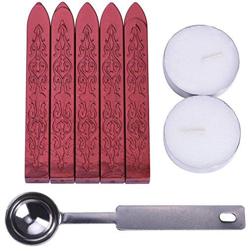 5 Stück Manuskript Siegelwachs Sticks mit 1 Stück Löffel und 2 Stück Kerzen für Briefumschläge Umhüllt(Dochte Ausgeschlossen)