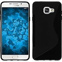 Funda de silicona para Samsung Galaxy A3 (2016) A310 - S-Style negro - Cover PhoneNatic Cubierta + protector de pantalla