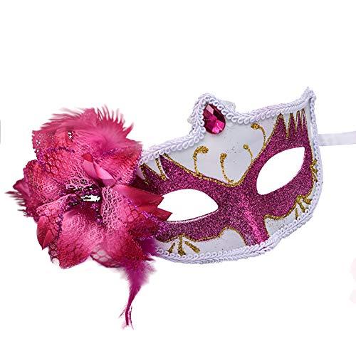 Westeng Party deko Maske Damen Masquerade Jazz Maske Frauen Augenmaske Cosplay Kostüm Maske für Halloween Weihnachten Karneval Party Maskerade 1 Stück (Rote Rose) (Gothic Rose Sexy Kostüme)
