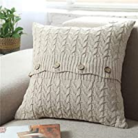 VITryst Plain Cosy House Collection Knitted Marled Cable Cushion Case for Sofa Bedroom Car Throw Pillow Covers Beige 45x45cm
