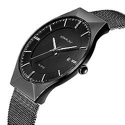 Super slim Casual Quartz Quartz Wristwatch Business stainless steel band Analog Date Mens Watch CJ-2127B