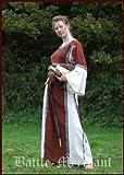 Battle Merchant Mittelalter Kleid - Ella mit Bordüre, rot/natur aus Baumwolle für Mittelalterkleid, LARP, Wikinger Größe S
