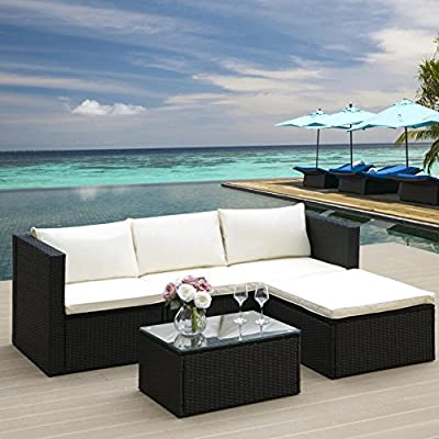 LIFE CARVER Garden Corner Sofa Rattan Furniture Set Black with cream Seat and back cushions