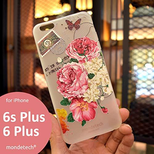 iPhone Case, mondetech Rosa Pfingstrose Blossom Frosted Transparente Weiche Silikon TPU 3D Reliefmalerei Schutzhülle für das iPhone (iPhone 6/6s Plus)