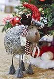 Valery Madelyn 41cm Stoff Weihnachtsdekoration wackeliger Hirsch Deko mit Feder Körper In den Wald Thema Rentier Dekofigur mit Fell Tierfigur Tisch Weihnahctsdeko für Weihnachten