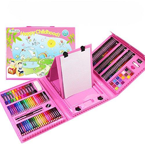 NEWELLYY 176-teiliges Kunst-Set, Malen & Zeichnen Set, Zeichnen Schablonen 6-10 alte Kinder, Weihnachtsgeschenk für Jungen & Mädchen, Kinder Urlaub Geschenke, Schreibwaren Skizzenblock, Pulver