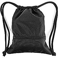 Bolsa de deporte de Zenwow con correas de cuerda, resistente al agua, de poliestireno, para la escuela, como bolsa de natación, color negro, con gran bolsillo con cremallera, para adultos y niños, negro