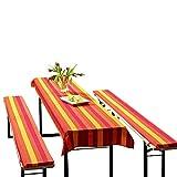 3er Set Biertischauflage mit Biertischauflage und Bierbankauflage 'Streifen ort-orange' 70x240 und 25x220x2