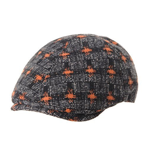 WITHMOONS Béret Casquette Chapeau Flat Cap Wool Felt Check Dot Pattern Newsboy Ivy Hat SL3527 Orange