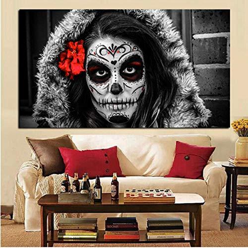 Ölgemälde Hd Print Abstrakte Sugar Skull Mädchen Tag Der Toten Ölgemälde Auf Leinwand Kunst Wandbild Für Wohnzimmer Dekoration-40cmx50cm -