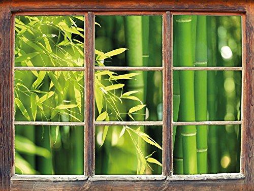 Bambù verde foglie fresche con finestra adesivi murali 3D Formato: Decorazione della parete 92x62cm 3D adesivi da parete decalcomanie