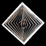 Edelstahl-Windspiel Quadrat hochkant Höhe -12cm x Breite -12cm mit Glaskugel Ø-35mm (lila/violett) Für den Garten und als Fensterschmuck
