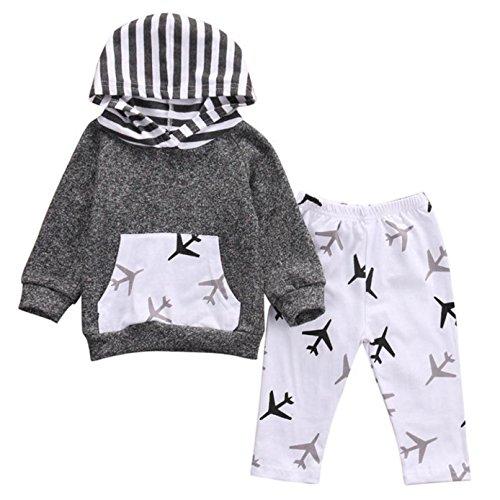Sunnywill Baby Jungen Mädchen Kleider Set Gestreifte Kapuzenoberteile + Hosen Outfits (3 jahr, Grau) (Baby-jungen-schnee-hose)