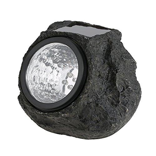 Lixada Solar LED Stein mit Helle Sensor, Garten Dekoration Lampen(IP65 Wasserdicht)