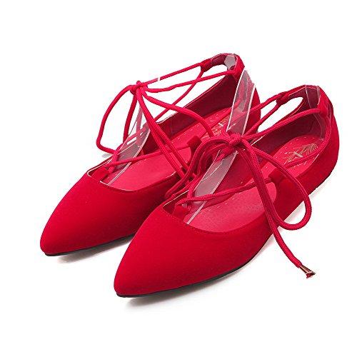VogueZone009 Donna Pelle Di Mucca Allacciare Punta Chiusa Scarpe A Punta Senza Tacco Puro Ballerine Rosso