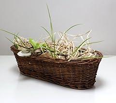 Idea Regalo - Cesto di vimini cestino di vimini cestino Pasquale PASQUA-Vaso Fioriera cesto per piante in vaso ovale marrone piccolo 35cm