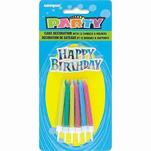 Unique Party Supplies Spirale Geburtstag Kerzen mit Halter und Happy Birthday Kuchen Dekoration, 25Stück