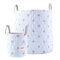 Minene 211239 Large Toy, Nursery or Laundry Storage Basket, Blue with Grey Stars