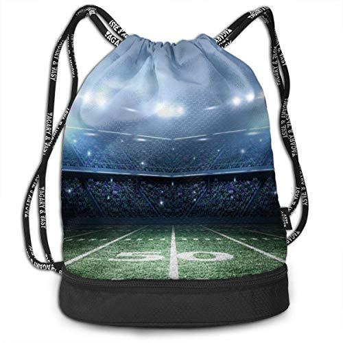 Girls & Boys Drawstring Backpack Theft Proof Lightweight Beam Backpack, Reisening Shoulder Bags - American Football Stadium Waterproof Backpack Soccer Basketball Bag
