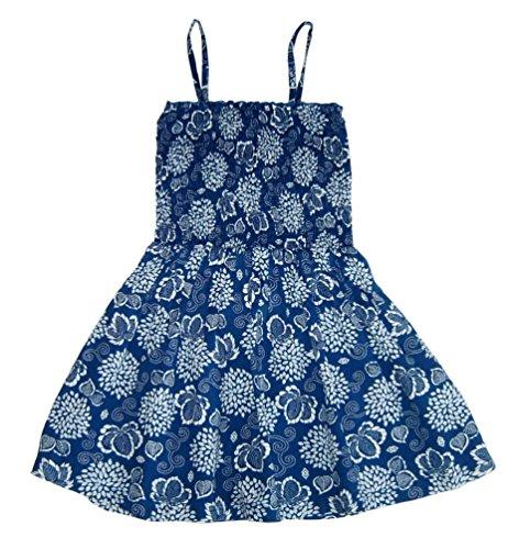Arizona Mädchen Sommerkleid Smok Kleid Trägerkleid Gr 128 134 146 blau weiß Viskose (146)