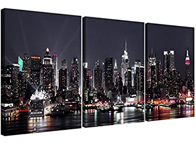 Large New York Skyline Canvas Pictures - Set of 3 for your Office - Contemporary City Wall Art - 3187 - Wallfillers®
