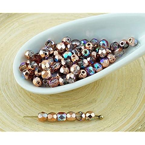 100pcs Cristallo di Rame Arcobaleno Rotondo ceca Perle di Vetro Sfaccettato del Fuoco Lucido Piccolo Distanziale 3mm