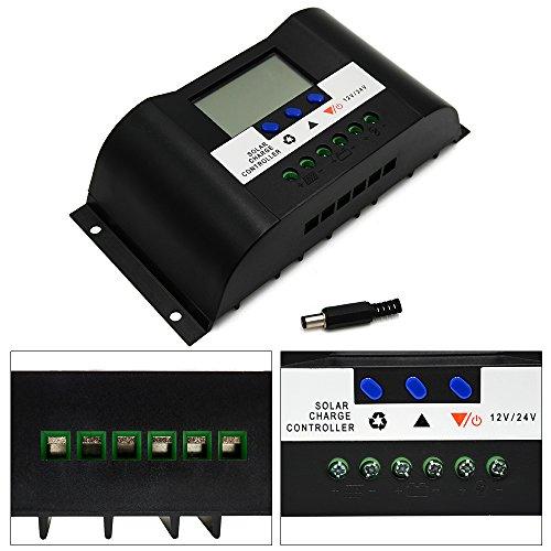 Huatuo Controlador de Carga Solar 30A 12V/24V con Pantalla LCD Temporizador regulador...