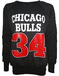 NEW pour femme Imprimé Chicago Bulls 34Pull à manches longues Haut pour Femme Taille 8–14