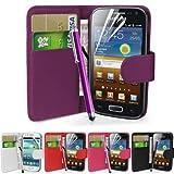 Fi9 Étui portefeuille en simili-cuir avec film de protection d'écran et stylet pour téléphone portable Samsung Galaxy Ace GT-S5830 S5830i S5839i - violet