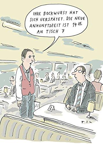 Postkarte A6 • 8151 ''Verspätete Bockwurst'' von Inkognito • Künstler: Til Mette • Satire • Cartoons