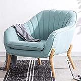 Lifelook Ohrensessel Sessel Polstersessel mit Armlehnen Gelegentlicher Stuhl mit Massivholzbeinen Cocktailsessel für Wohnzimmer Schlafzimmer Schlafzimmer(Blau)