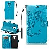 Schutzhülle Für Asus ZenFone 3 (5.5zoll) ZE552KL , pinlu® Handyhülle Hohe Qualität PU Ledertasche Brieftasche Mit Stand Function Innenschlitzen Design Schmetterling Gras Muster Blau