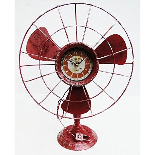 Reloj en forma de ventilador antiguo decoración industrial Vintage de Metal rojo 41cm