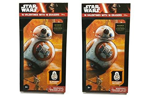 Star Wars 16Valentines mit 16Radierer ~ 1Box 2er-Pack (Valentine Karten Star Wars)