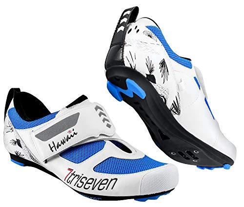 TriSeven Premium Triathlon Fahrradschuhe - Ultraleichte, atmungsaktive und Fiberglas Sohle | Der schnellste Schuh in der Übergangszone! (45 EU, Blau)