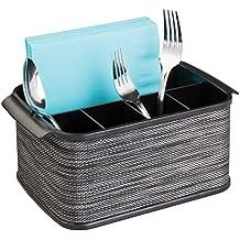 mDesign Rangement à couverts et argenterie, pour meuble, plan de travail de cuisine, table de salle à manger - Fumé / Noir