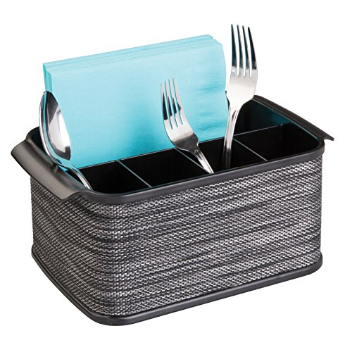 mDesign Cutlery Holder with Handles - Decorative Cutlery Basket for Kitchen, Garden or Picnic - Storage Box with Large Compartments - Black