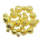 PandaHall - Eisen Filigrane Hohl Perlen, Rund, Goldene Farbe, 6~20 mm, Bohrung: 0.5~1 mm; ca. 170 Stk. / 100 g